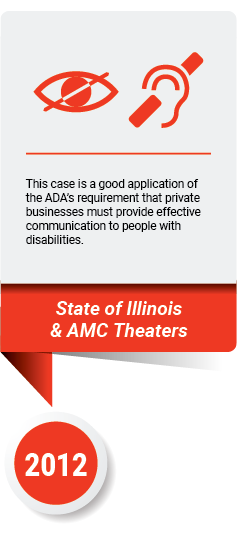 ADA case card with icons of deaf and blind symbols in red