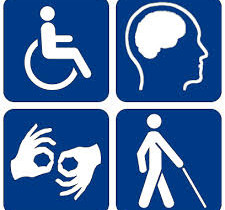 Clip art showing icons for 4 areas of disability; mobility, cognitive, hearing and sight
