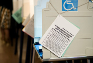 A row of voting booths, with a wheelchair accessible booth at the end of the row