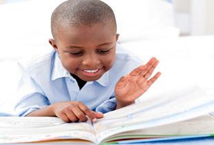 African American Boy Reading