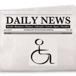 Daily Newspaper with disability symbol on front page