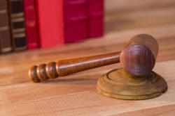 Judge's gavel on a desk.