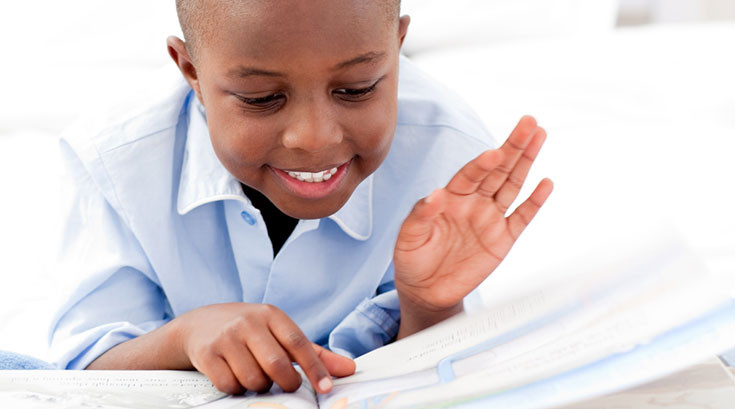 African American Boy Reading