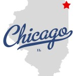 Map of Illinois with a red star to show where Chicago is located
