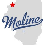 Map of Illinois with a red star to show where Moline is located