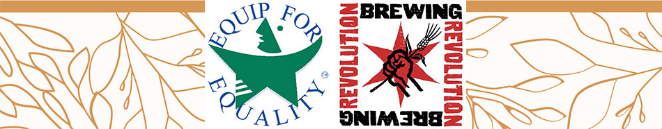 Stylized footer image of fall leaves with Equip for Equality and Revolution Brewing logos.