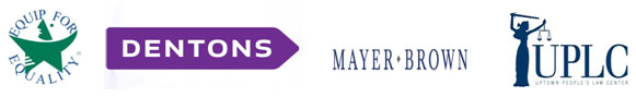 Logos for Equip for Equality, Uptown People's Law Center, Dentons, and Mayer Brown.