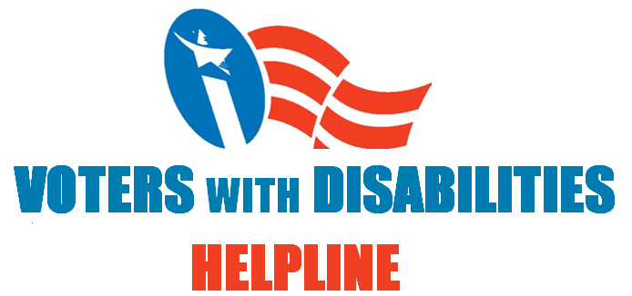 Voters with Disabilities Helpline Logo in red, white, and blue