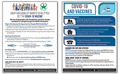 Thumbnails of front and back of Vaccine flyer. Text is too small to read.